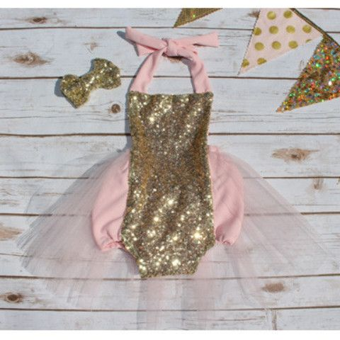 Classic Gold and Pink Princess Sparkle Romper READY TO SHIP
