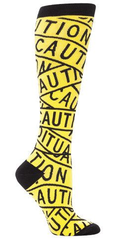 Caution Tape Knee High Socks, from Sock Drawer.