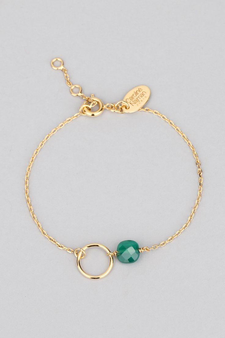 Bracelet doré pierre verte Fidji