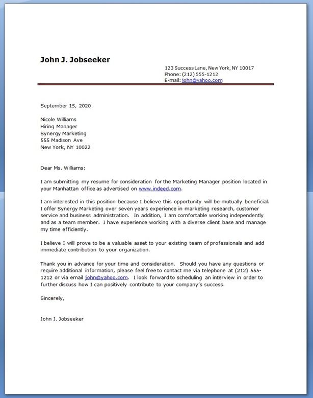 sample cover letters for cv