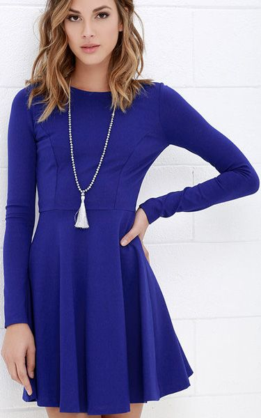 Forever Chic Royal Blue Long Sleeve Dress via @bestchicfashion