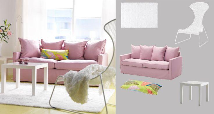 """Ein Wohnzimmer eingerichtet mit IKEA PS 2012 Sessel in Weiß, HÄRNÖSAND 3er-Sofa mit Bezug """"Olstorp"""" in Hellrosa und LACK Beistelltisch in Weiß"""