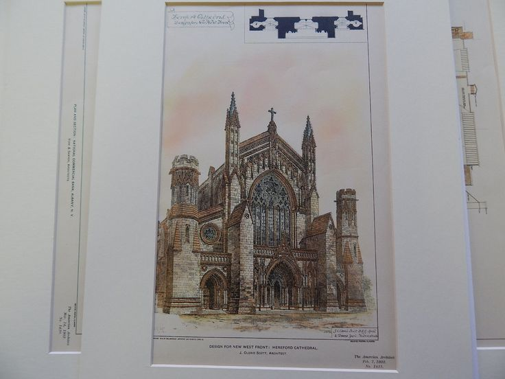 Hereford Cathedral, Hereford UK 1903. Original Plan. J. Oldrid Scott.