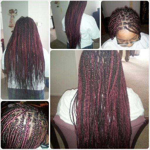 Burgundy And Black Box Braids Hair By Me Pinterest