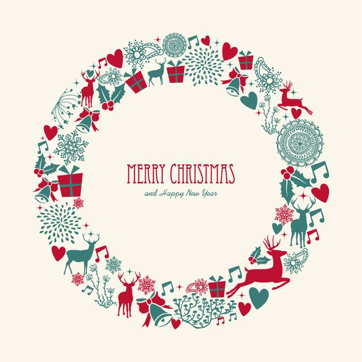 Christmas Elements Wreath Vector