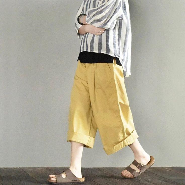 Yellow wide leg summer pants