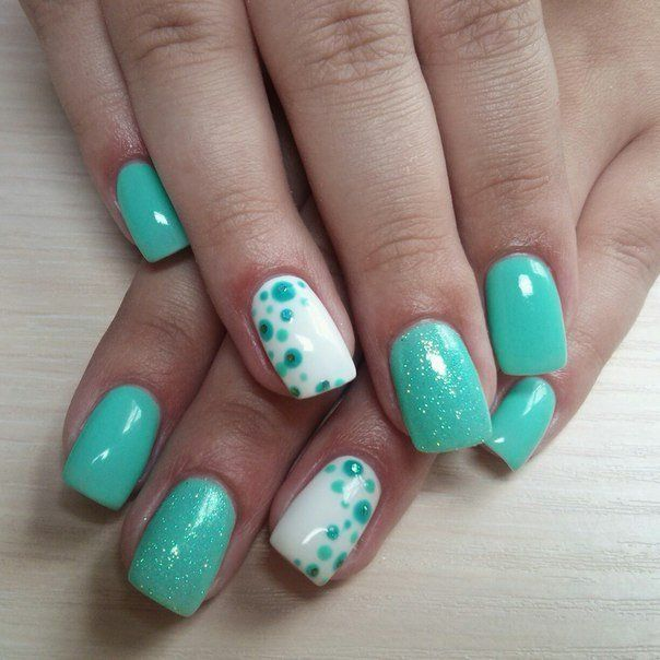 Beautiful nails 2016, Everyday nails, Fresh nails, Manicure by summer dress, Mint and white nails, Mint nails, Nails balls, Original nails