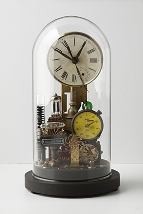 Repurposed Dome Clock: handmade from found objects, by artist Roger Wood