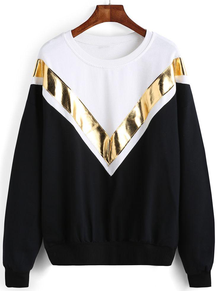 Shop Colour-block Crew Neck V Pattern Sweatshirt online. SheIn offers Colour-blo…