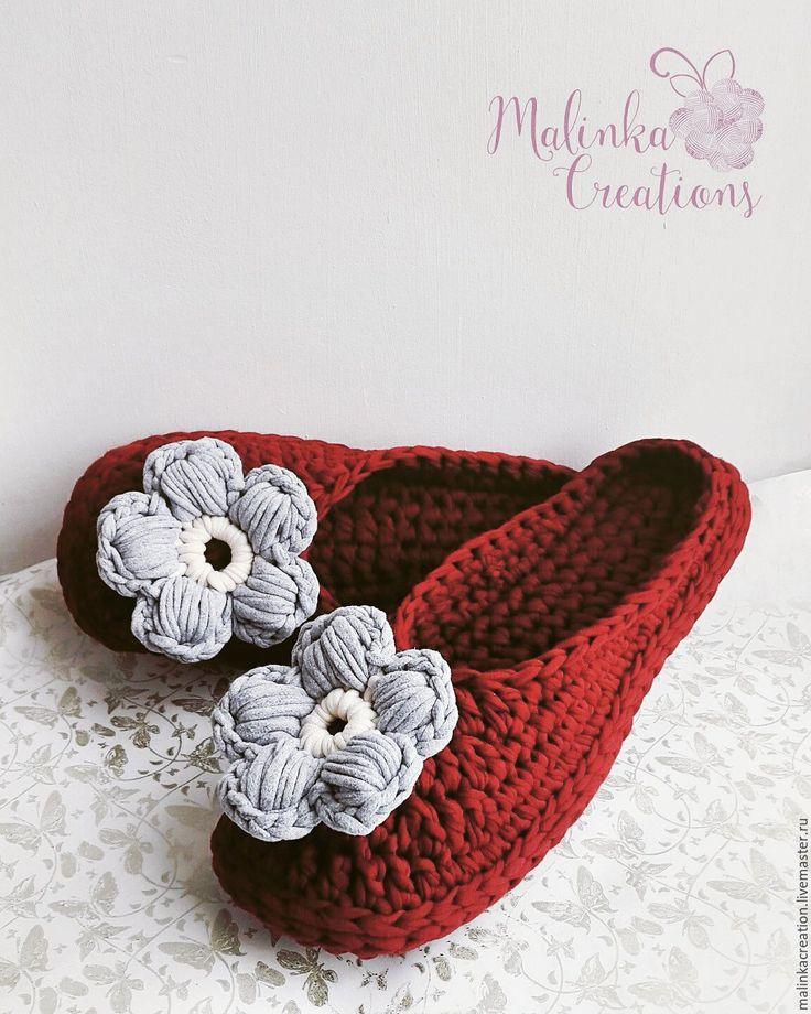 Купить Домашние тапочки Flowers из трикотажной пряжи - бордовый, тапки, домашние тапочки, домашняя обувь