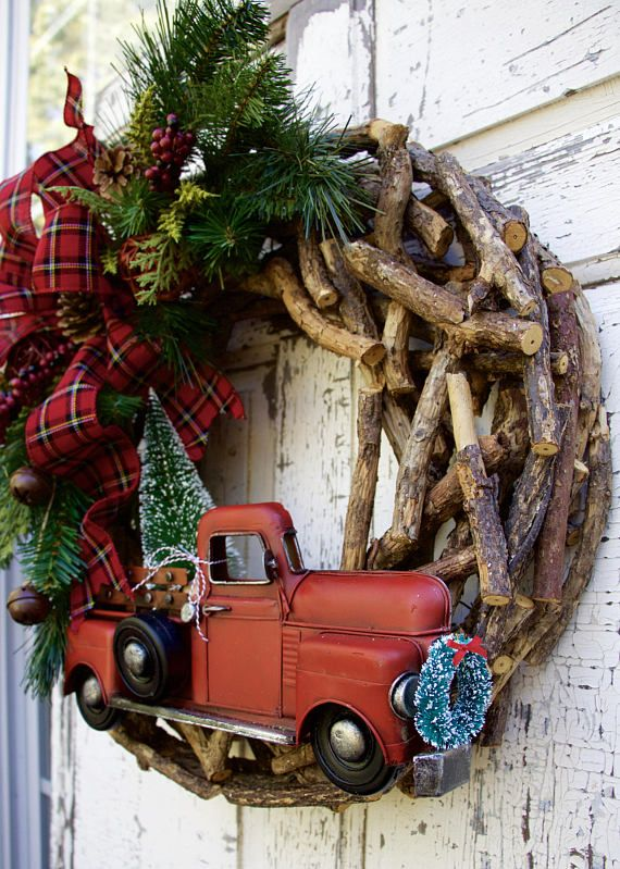Christmas Wreaths, Woodland Christmas Wreath, Rustic Christmas Wreath, Farmhouse Wreath, Country Christmas Wreath, Red Truck Wreath. Farmhouse Christmas, Cabin Wreath Too cute for words!!! A woodland Christmas to grace your door!!! This wreath is made on a unique rustic wood base, thats plenty chunky with lots of texture. Its accented with winter greens, pinecones and berries. The vintage inspired red truck even has a flocked bottle brush tree in the back, with a wreath on the front!!! A…