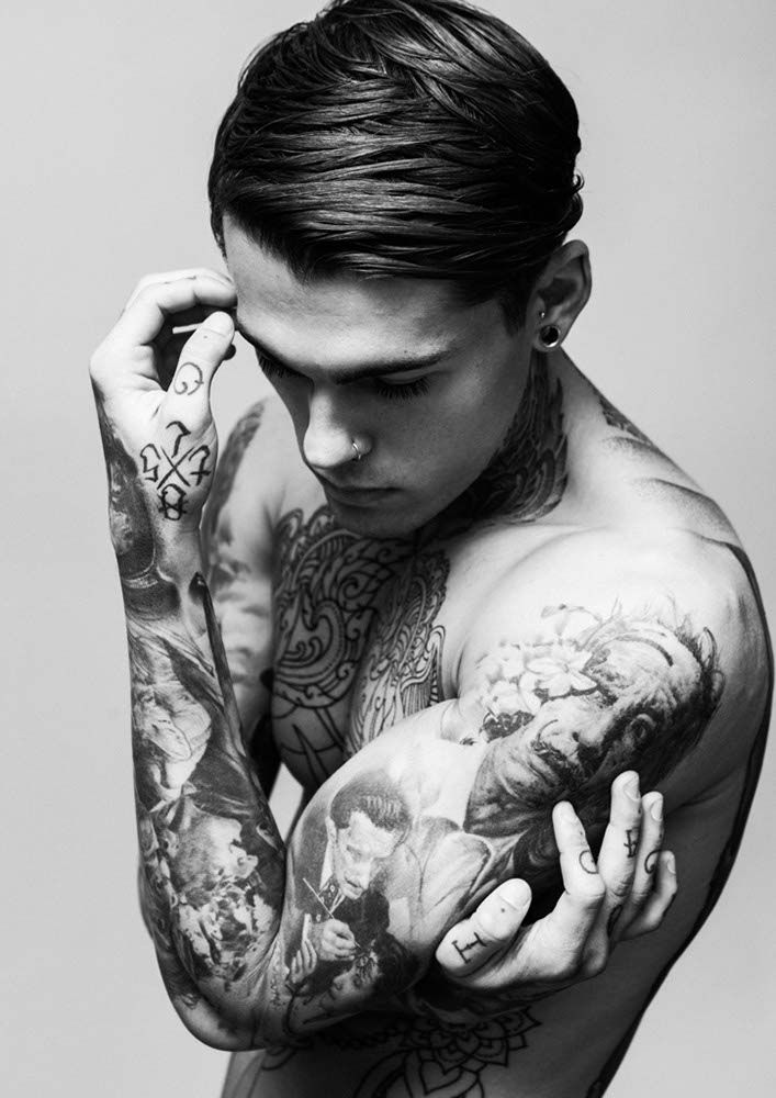 Eye candy stephen james male model tattoos eye for Black tattoo ink