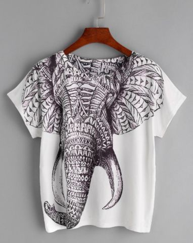 - Boho Elephant Tee - Stunning elephant design - O-Neck t-shirt - One size fits all - Please allow 2-3 weeks for delivery due to popularity.