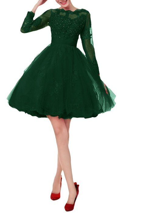 Avril Dress Women's Ball Gown Beading Appliques Bateau Homecoming Dresses Short-14-Dark Green