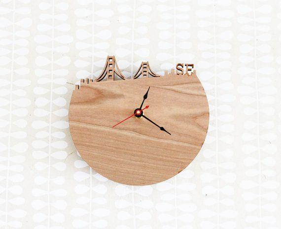 San Francisco SF Skyline Wood Clock