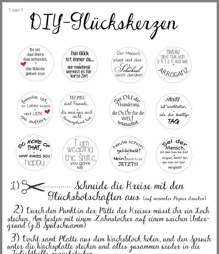 Handmade By Bianca Glucksteelichter Mit Spruchen