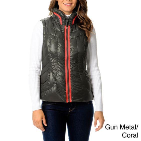 Down Vest In Gunmetal & Pink Coral