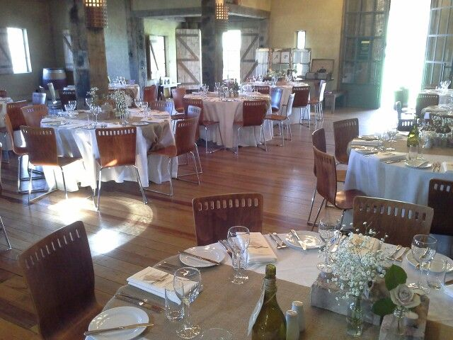 Inside Church Rd Winery, set up for Pip & Andrew wedding 23 Aug 2013
