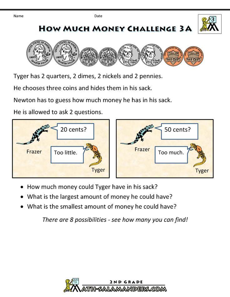 3rd grade math worksheets how much money 3a Money