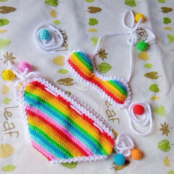 Bikini de playa arco iris bikiní de bebé del ganchillo traje