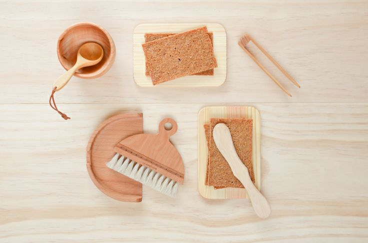 Wooden bread boards, wooden butter knives, toast tongs, hand carved wooden cups and spoons, cute little table brush with a tray. Available at www.pikkukota.com