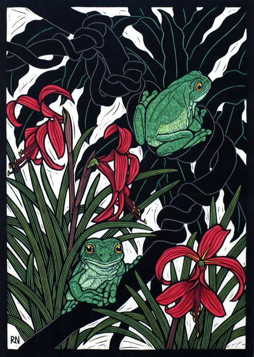 Green Tree Frog49 x 35 cm    Edition of 50Hand coloured linocut on  handmade Japanese paper.    Rachel Newling