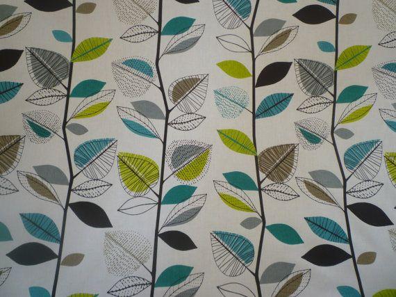 "Teal Fabric Green Grey Black White Funky UK Cotton Fabric per Metre (39"" x 56"") PLENTY in STOCK"