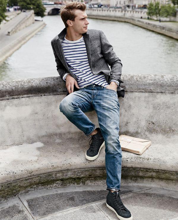SEP '15 Style Guide: J.Crew men's Ludlow sportcoat in tweed, long-sleeve textured cotton tee in mountain stripe, 770 jean in Leroy wash and Vans® for J.Crew Sk8-Hi sneakers in monotone suede.