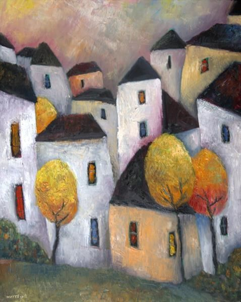 Town with Golden Trees by Jeremy Mayes | Artgallery.co.uk