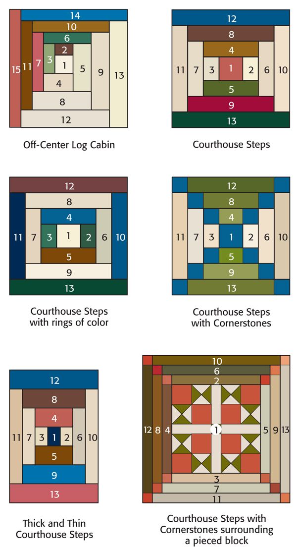 Variations of the traditional Log Cabin block