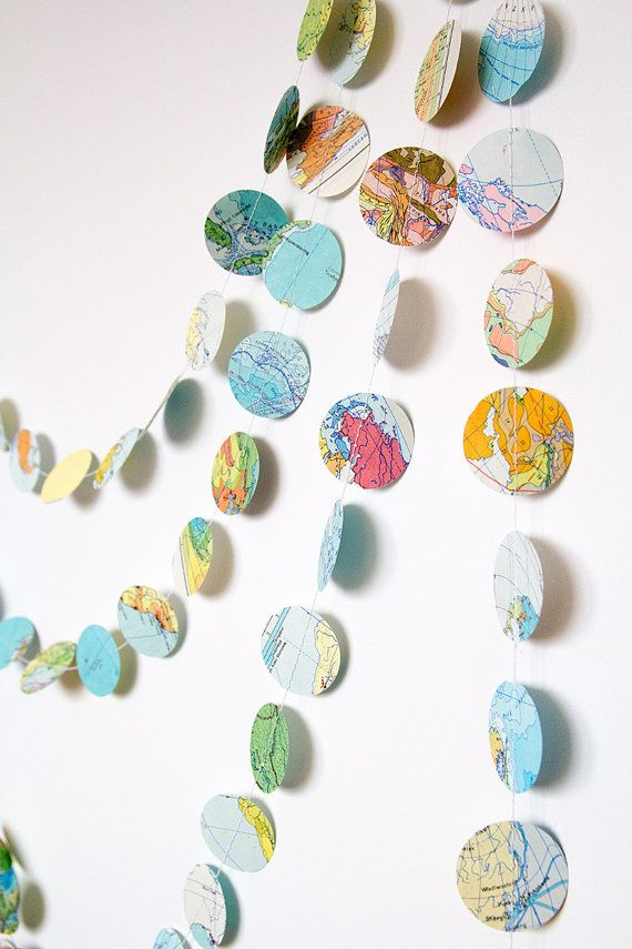 Paper garland travel wedding garland, circle garland bunting, party photo booth home decor bridal baby shower nursery kids atlas map garland on Etsy, $10.00