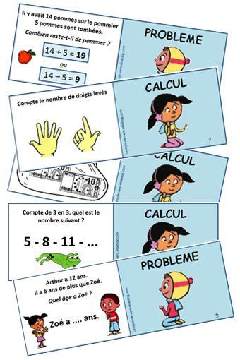 """Des cartes de jeu multi matières pour des enfants de CP.  (Mathématiques : calcul, résolution de problèmes, logique / Français : lecture, grammaire / énigmes)  Imprimer les cartes, les plier en deux (RECTO : la question lue par le joueur, VERSO : couleur indiquant le type de carte """"maths en bleu"""", """"français en orange"""", """"énigmes en violet"""", ainsi que la réponse) et les plastifier..."""