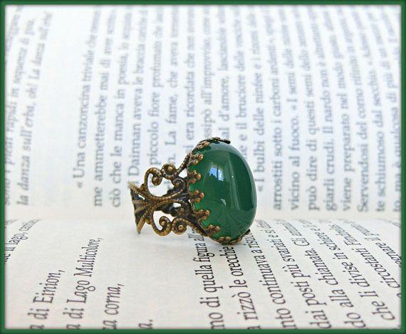 Anello agata stile vintage, Anello filigrana regolabile, Anello con agata rossa, Anello con agata verde, Anello vittoriano, Regalo per lei