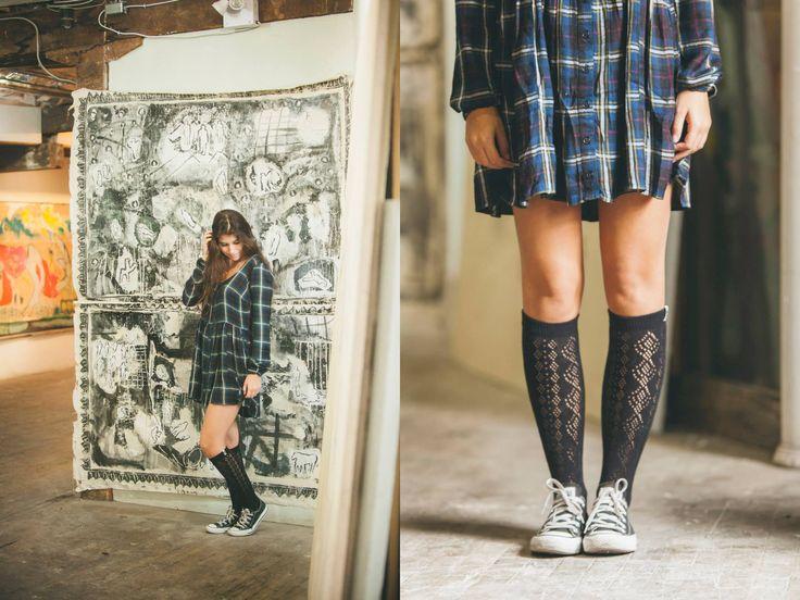 Obey Courtney Dress / Volcom Tall Boy Socks / Converse Chuck Taylor OX Black