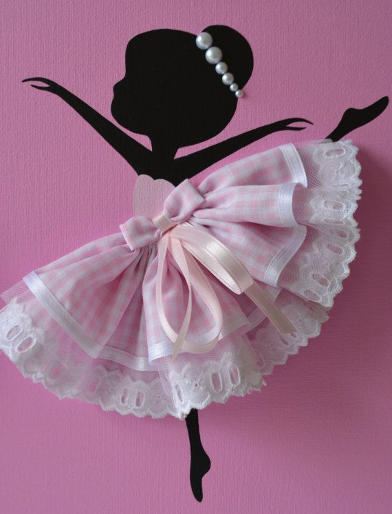 Set of Three Dancing Ballerinas in Pink. Nursery by FlorasShop