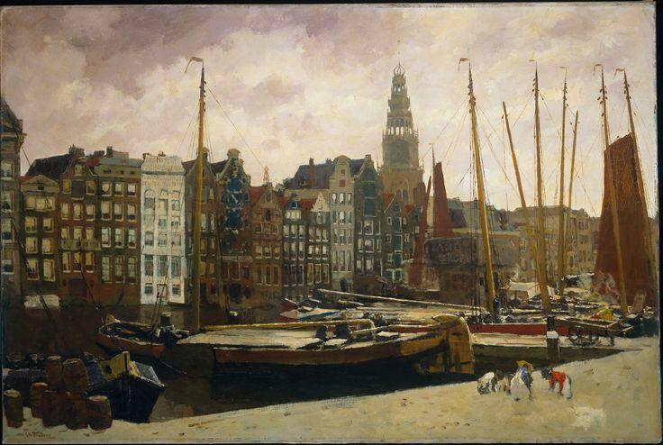 Het Damrak te Amsterdam.  Breitner, George Hendrik    Verv.jaar: 1903