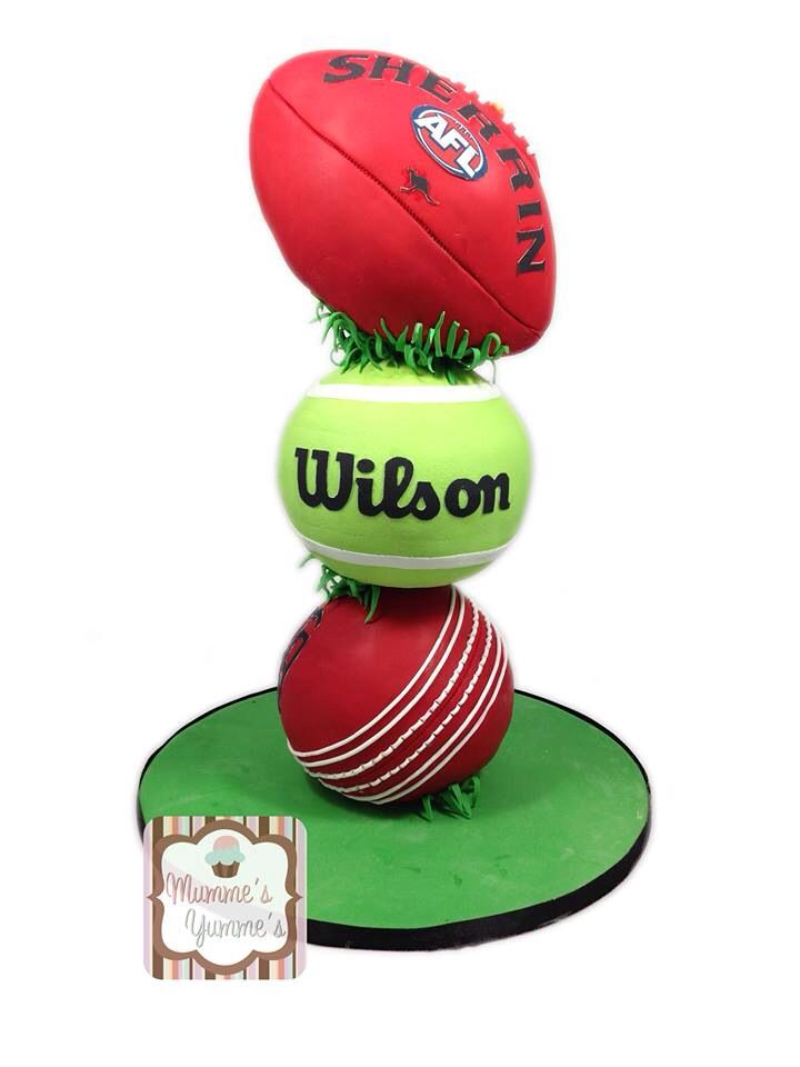 Cake Inspiration - 3 Tier, Novelty, Sports Balls, Cricket, Tennis, AFL, Football