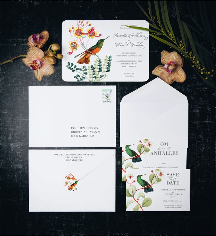 Paradise Love wedding stationary suite by Calligraphen #calligraphen #bröllop #wedding #savethedate #kuvert #etiketter #osa #inbjudan #inbjudningskort #invitasjon