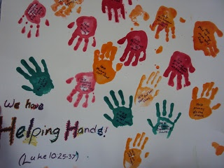 Handprints: Helping Hands Craft Addition from the Good Samaritan Lesson | cows go moo and ducks go quack