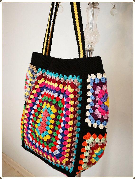 boho style Shoulder bag colorful handmade crochet