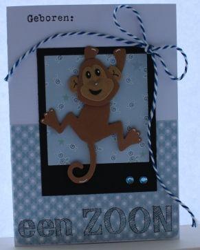 Gemaakt door Joke # Babykaartje met aapje - een zoon