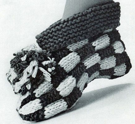 NEW! Let's Play Checkers Cuff Slipper knit pattern from American Thread, Star Book 218.