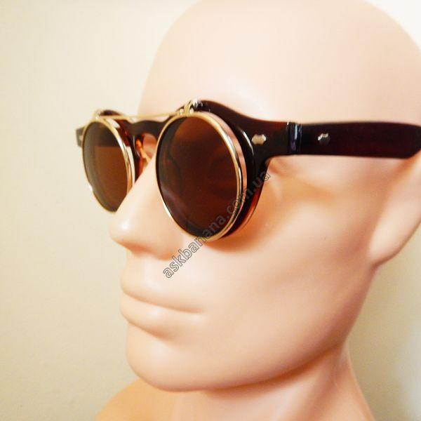 Ретро двойные очки, круглые линзы и металлическая рамка. Коричневые с золотой рамкой: цена, описание, купить - askbanana.com.ua - Он-лайн магазин АскБанана, здесь можно купить солнцезащитные и имиджевые очки, флеш тату, косметику, кисти для макияжа, Apple iPhone чехлы, бижутерию, браслеты, спорт товары, подсветку колес, гаджеты, подарки с доставкой по всей Украине