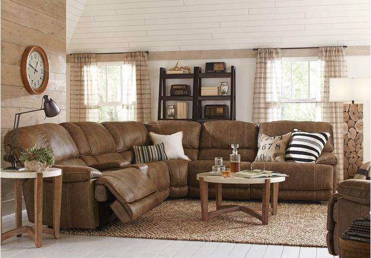 Stetson Ridge Brown 6 Pc Power Reclining Sectional - Living Room Sets