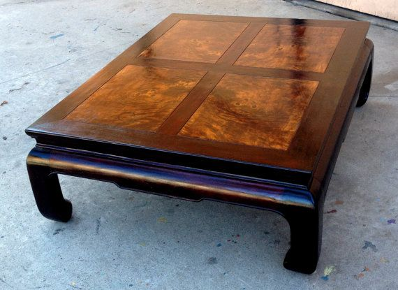 Henredon Asian Coffee Table Chinese Ming Dynasty Walnut Burl Wood Ox Hoof Feet Dark Mahogany