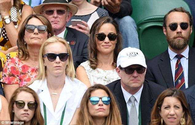 Carole, Pippa and James Middleton all sit together as Federer guns for his eighth Wimbledon title on Sunday