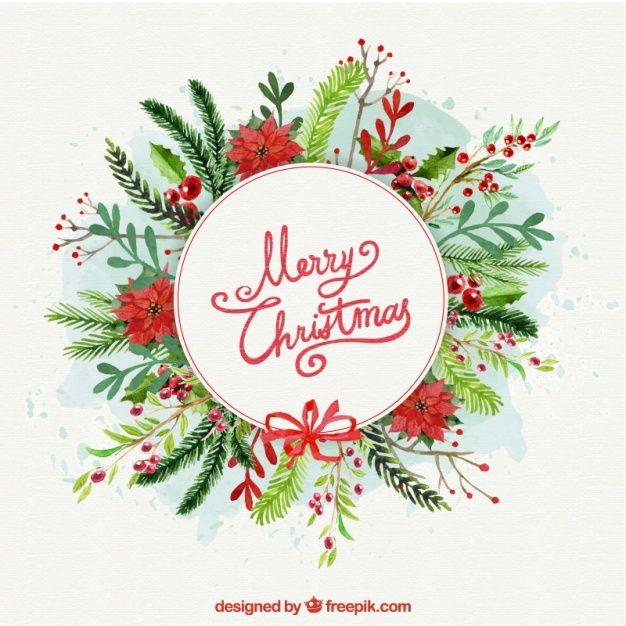 Цветочный фон акварель для рождественские украшения Бесплатные векторы