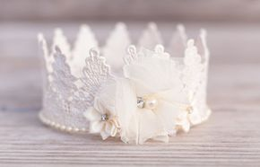 Lace crown in ivory, perfect for princesses of all ages! Lots of natural textures, beautiful colors, and totally fun! Perfect for your little