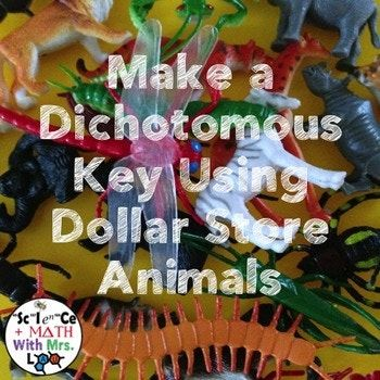 This activity is a fun, creative exploration of how to make a dichotomous key. Students are given an example of a flow chart and a standard dichotomous key and they create their own using animals, dinosaurs, bugs, or any other dollar store organism variety pack!