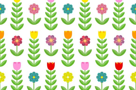 Tulips and flowers. Seamless pattern by joulenc on Creative Market